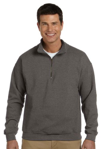 (Gildan 18800 Adult Heavy BlendVintage 1/4-Zip Cadet Collar Sweatshirt - Tweed - L)