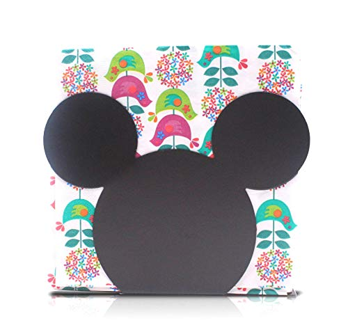 Finex Mickey Mouse Head Stainless Steel Napkin Holder Stand for kitchen table party (Black)