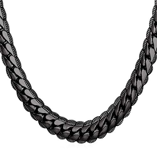 U7 Men Heavy Snake Curb Chain Thick 9MM Wide 18KGP Stamp Street Rock Hip Hop Style Jewelry Ion Plating Black Metal Chunky Necklace (30 inches)