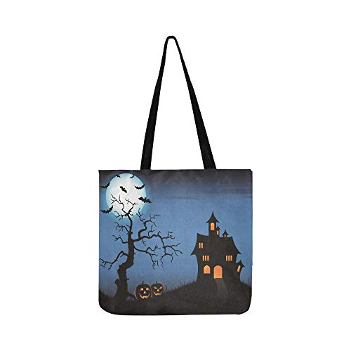 Halloween Pumpkin Full Moon Dead Tree Castle Canvas Tote Handbag Shoulder Bag Crossbody Bags Purses For Men And Women Shopping Tote