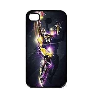 NBA Los Angeles Lakers Kobe Bryant Apple iPhone 4 4S TPU Soft Black or White cases for basketball Lakers fans (Black)