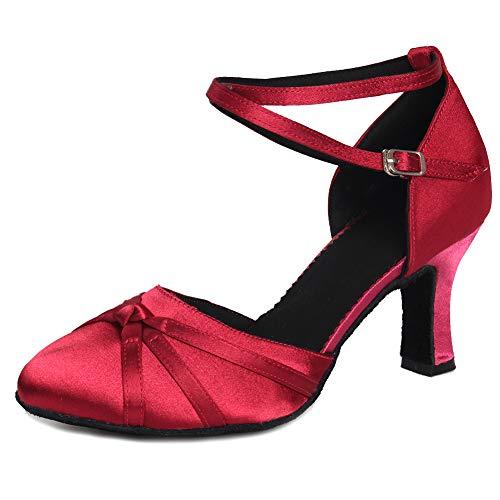 Heel Shoes Model Dark Red Women's Satin HIPPOSEUS Ballroom 7cm Dance Toes Closed Shoes Latin UKQU516 wftq64