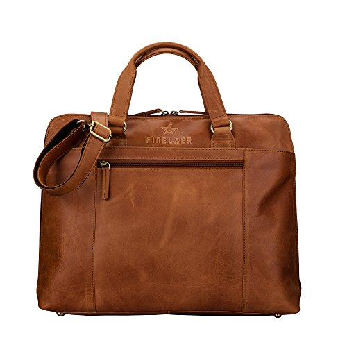 Leather Laptop Briefcase Messenger Brown bag with Pockets Zipper For Men and Women | Finelaer by FINELAER