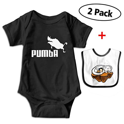 Pumba Pig Baby Boys & Girls Short Sleeve Romper Jumpsuit Bodysuit Playsuit Outfits (with Bibs) -