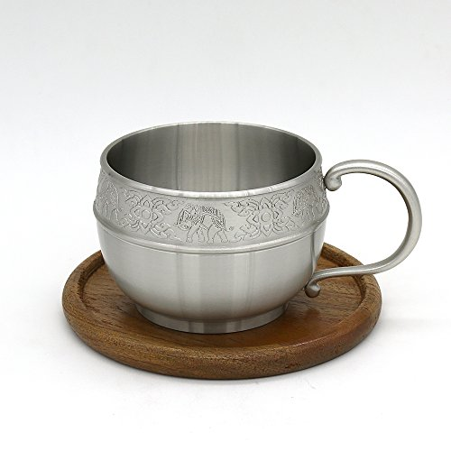 Oriental Pewter - Pewter Coffee Cup with Wooden Saucer Hand Carved Beautiful Embossed CCW Pure Tin 97% and Lead-Free Handmade in Thailand