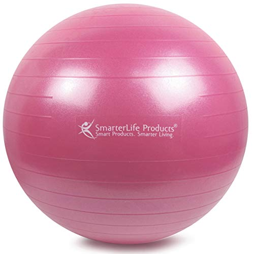 Exercise Ball for Yoga, Balance, Stability from SmarterLife - Fitness, Pilates, Birthing, Therapy, Office Ball Chair, Classroom Flexible Seating - Anti Burst, No Slip, Workout Guide (Pink, 55 cm) by SmarterLife Products (Image #1)