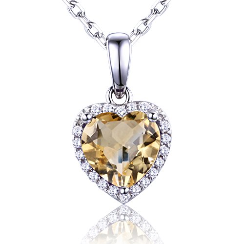 Natural Citrine Sterling Silver Heart Pendant Necklace Love Birthstone Necklace Best Birthday Gifts for Girlfriend&Daughter (Pendant Citrine Heart Cut)