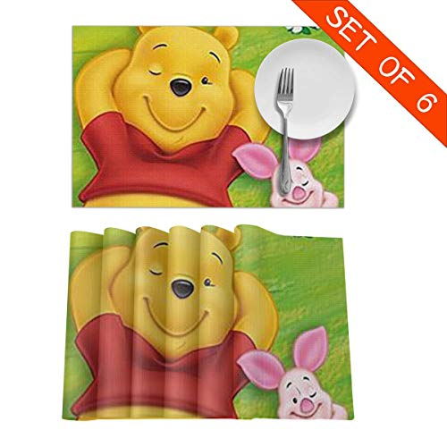 (LCXjj Winnie The Pooh with Pig Non-Slip Insulation Placemat Washable Table Mats Set of 6 (6pcs Placemats) -12x18 Inch)