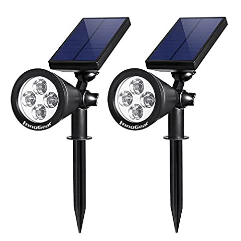 InnoGear Upgraded Solar Lights 2-in-1 Waterproof Outdoor Landscape Lighting Spotlight Wall Light Auto On/Off for Yard Garden Driveway Pathway Pool,Pack of 2 (White - Fiber Optic Landscape Lighting