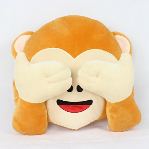 "13"" Cute Monkey Emoji Pillow Round Cushions Stuffed Animal Plush Toys for Car Home Sofa Cushion Decoration (No See)"
