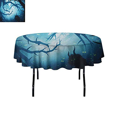 Mystic Leakproof Polyester Tablecloth Animal with Burning Eyes in The Dark Forest at Night Horror Halloween Illustration Outdoor and Indoor use D47 Inch Navy White -