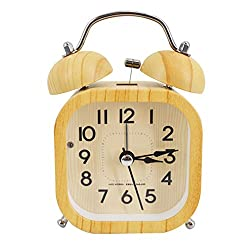 Wooden Square Time Alarm Clock Handmade Silent table Snooze beech Wood Alarm Clock with nightlight