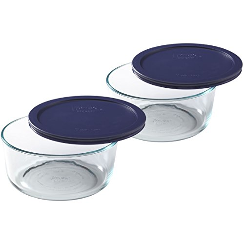 -Cup Round Glass Food Storage Dish, Blue Cover, Pack of 2 ()