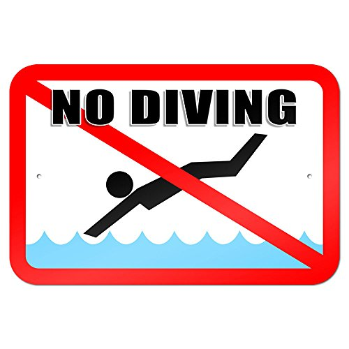 "No Diving - Pool Area 9"" x 6"" Metal Sign"