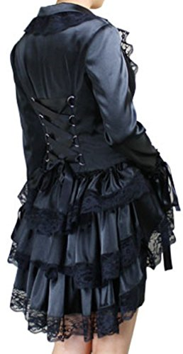 Lacey Corset (-Gothic Countess- Black Lacey Corset Satin Ruffle Lace Vintage Style Jacket)