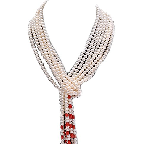 JYX Five-strand 5-6mm White Round Freshwater Pearl and Red Coral Flower Necklace
