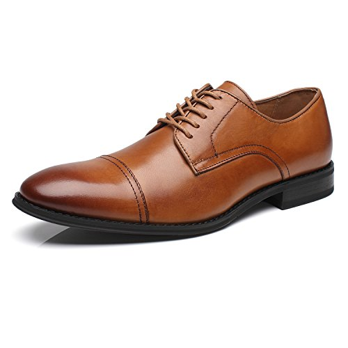 (La Milano Mens Leather Updated Classic Cap Toe Oxfords Lace Dress Shoes; Size-7.5; Color-Cognac)