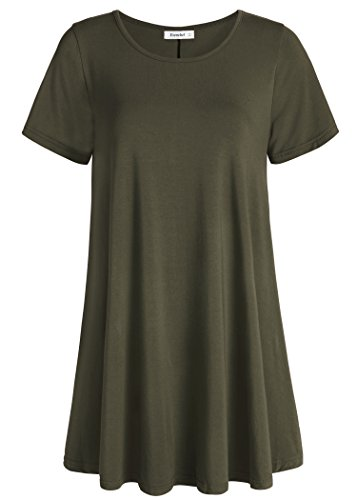 Esenchel Women's Tunic Top Casual T Shirt for Leggings M Army Green
