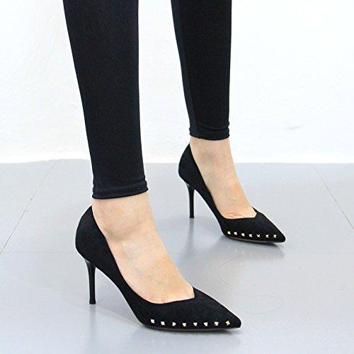 huit Femme Suede Beaux Kphy Chaussures Avec Trente Elegant Pointues printemps Noir Pwvq1xT
