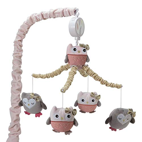 Lambs & Ivy Family Tree Coral/Gray/Gold Owl Musical Mobile by Lambs & Ivy