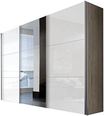 Solutions 45340 – 768 – Armario de Puertas correderas (3 Puertas, Listones de Mango Aluminio Colores, Cuerpo de Sonoma Roble/Frontal Lacado Color Blanco y Espejo: Amazon.es: Hogar