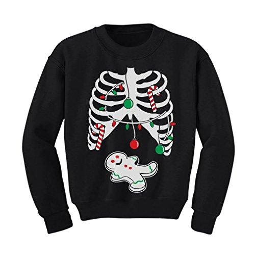 - Tstars TeeStars - Gingerbread Skeleton Christmas Rib Cage Xray Cute Kids Sweatshirt 5/6 Black