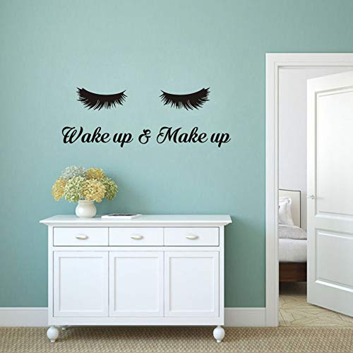 Wake Up &Make Up Wall Decal Fashion Eyelash Wall Sticker Women Beauty Quote Sticker for Bedroom Decoration 3