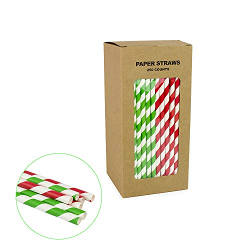 Green & Red Striped Straws for Beverage & Party Decoration - Box of 250-7.75 inches, Paper Sticks for Candy Apples, Lollipops, Milkshake and Swizzle Sticks