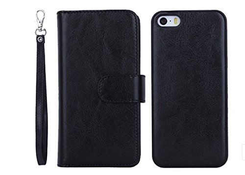 Vandot 3 in1 Reißverschluss 9 Karte Card Slot PU Handtasche für iPhone 5 5S SE Leder Wallet Magnet Case Hülle Brieftasche Luxus Flip Business Zipper Tasche Holster Loch Shell Schutz Bag Etui + Hart Ba