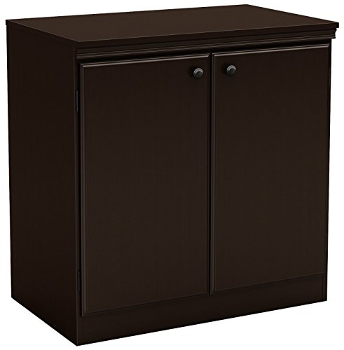 South Shore Small 2-Door Storage Cabinet with Adjustable Shelf, (Brown Liquor Cabinets)