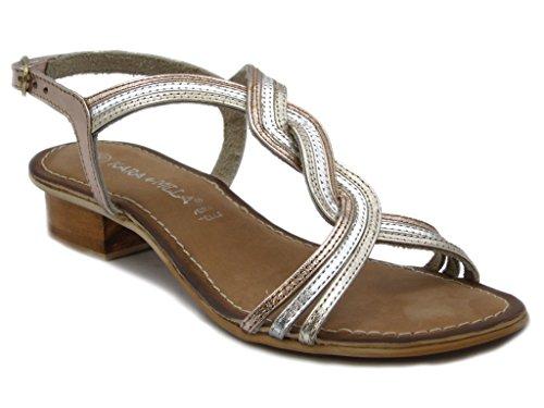 Sandalo in pelle laminato multicolore, con tacco 2,5cm. e SUOLA IN gomma, Estivo-SH85