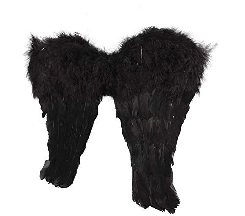 Victoria Secret Angels Costumes Halloween (Black Feather Fallen Angel Wings w/ Shoulder)