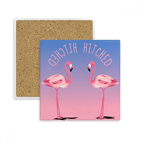 (Hitched Flamingo couple Square Coaster Cup Mug Holder Absorbent Stone for Drinks 2pcs Gift)