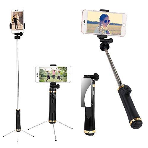 Bluetooth Selfie Stick Tripod, BOKIN Remote Selfie Stick with Mirror for iPhone 7/iPhone 7 plus/iPhone 8/iPhone 8 plus/iPhone X and Samsung note 8/S8 and other Android Phones