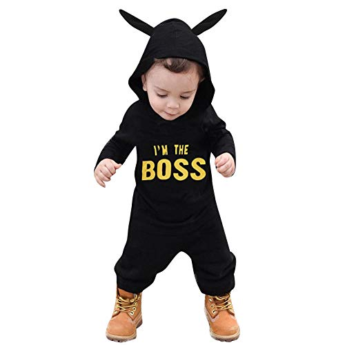 Newborn Baby Boy King Pattern Hooed Jumpsuit Bodysuit Onesies Clothes Outfits ()