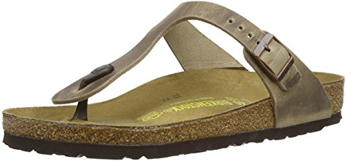BIRKENSTOCK Damen Gizeh Greased Leather Zehentrenner, Tabakbraun, 42 EU