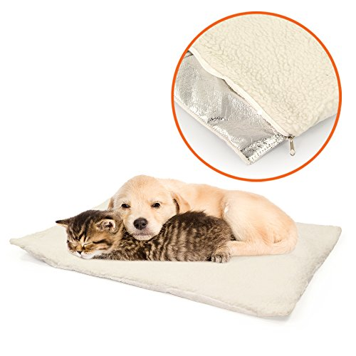 PARTYSAVING Self Heating Snooze Pad Pet Bed Mat for Pets Cats, Dogs and Kittens for Travel or Home, APL1344, White