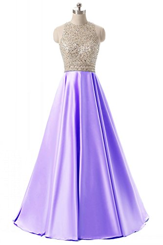 HEIMO Women's Sequined Keyhole Back Evening Party Gowns Beaded Formal Prom Dresses Long H123 16 2-Lavender (Evening Gown Back)
