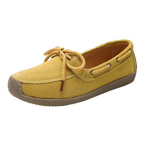 CCFAMILY Women's Ladies Ankle Flat Loafers Slip On Flock Roman Casual Shoes Yellow