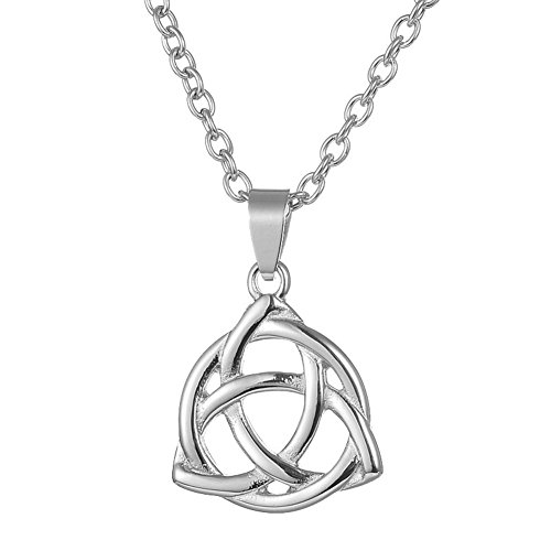 ALoveSoul Stainless Steel Irish Silver Celtic Triquetra Trinity Knot Lucky Pendant Necklace