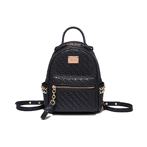 Crash 19x9x24cm Bag Rivet Knitting Female Backpack ash New Ribbed Powder Shoulder Student 2018 Black Style 4nRpC8qw