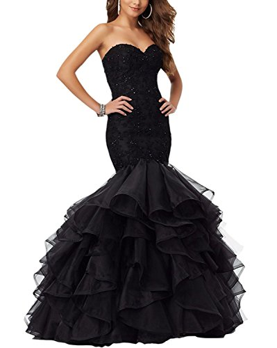 39cdd30fe9194 Meledy Women s Sweetheart Sequins Backless Pageant Gowns Lace Long Mermaid  Prom Party Dresses Black (Mermaid