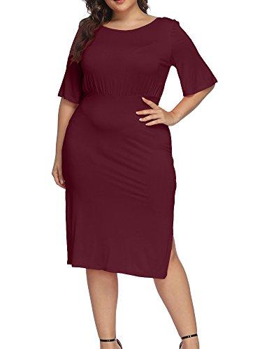 Allegrace Women Plus Size Half Sleeve Open Back Cocktail Midi Dress Split Scoop Neck Party Dresses Wine Red 1X ()