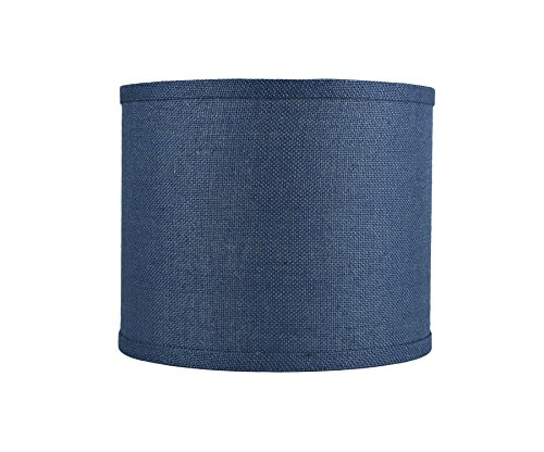 Urbanest Classic Drum Burlap Lampshade, 12-inch by 12-inch by 10-inch, Denim Blue
