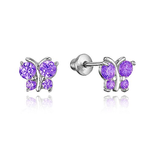 925 Sterling Silver Rhodium Plated Butterfly Purple Cubic Zirconia Stud Screwback Baby Girls (Purple Cubic Zirconia Stud)