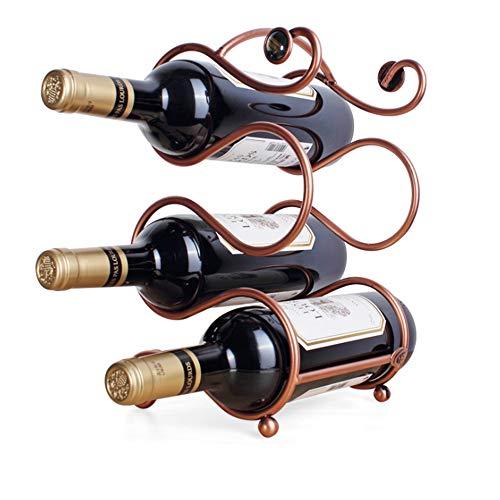 Desktop Independent Wine Rack, European Style Wine Rack, Suitable for Bars, Wine Cellars, Restaurants, Cabinets, Pantry can Hold 4 Bottles of Wine, Retro -