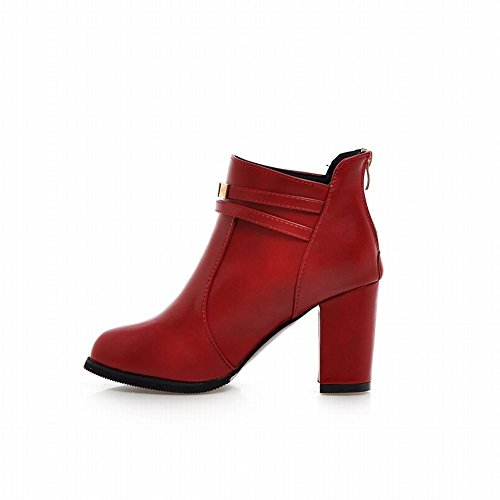 Latasa Womens Fashion Spring Fall Rivets Straps Zipper Block High-heel Ankle Boots Red XyyWJ8dO