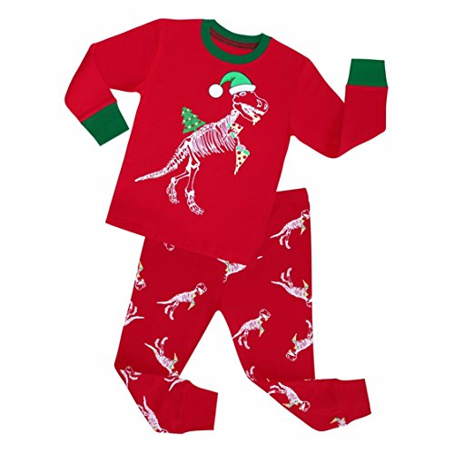 Kids Girls Boys Dinosaur Matching Christmas Pajamas Long Sleeve Top Pants Pajamas set (4T) (Red Dinosaur Costume)