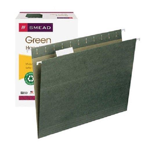 Smead 1/5 Tabs Hanging File Folders, Standard Green (Letter, 50 ct.)