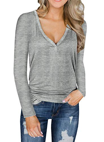 Unidear Womens Autumn V Neck Long Sleeve Slim Knit Pullover Tops Sweater Jumper Grey 2XL ()